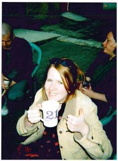 The mug says: 21 and gorgeous