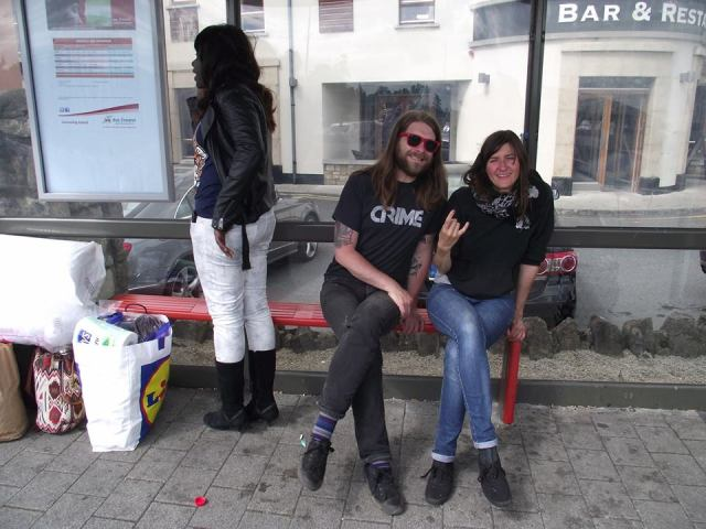 willie and natalia at bus stop